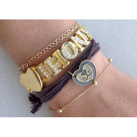 Pulseira words dourada LOVE DOG/CAT